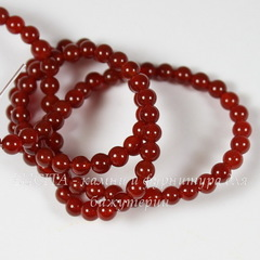 Бусина Агат (категория A), шарик, цвет - темно-красный, 4 мм, нить