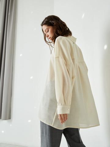 Рубашка свободного кроя из шерсти и шелка молочный