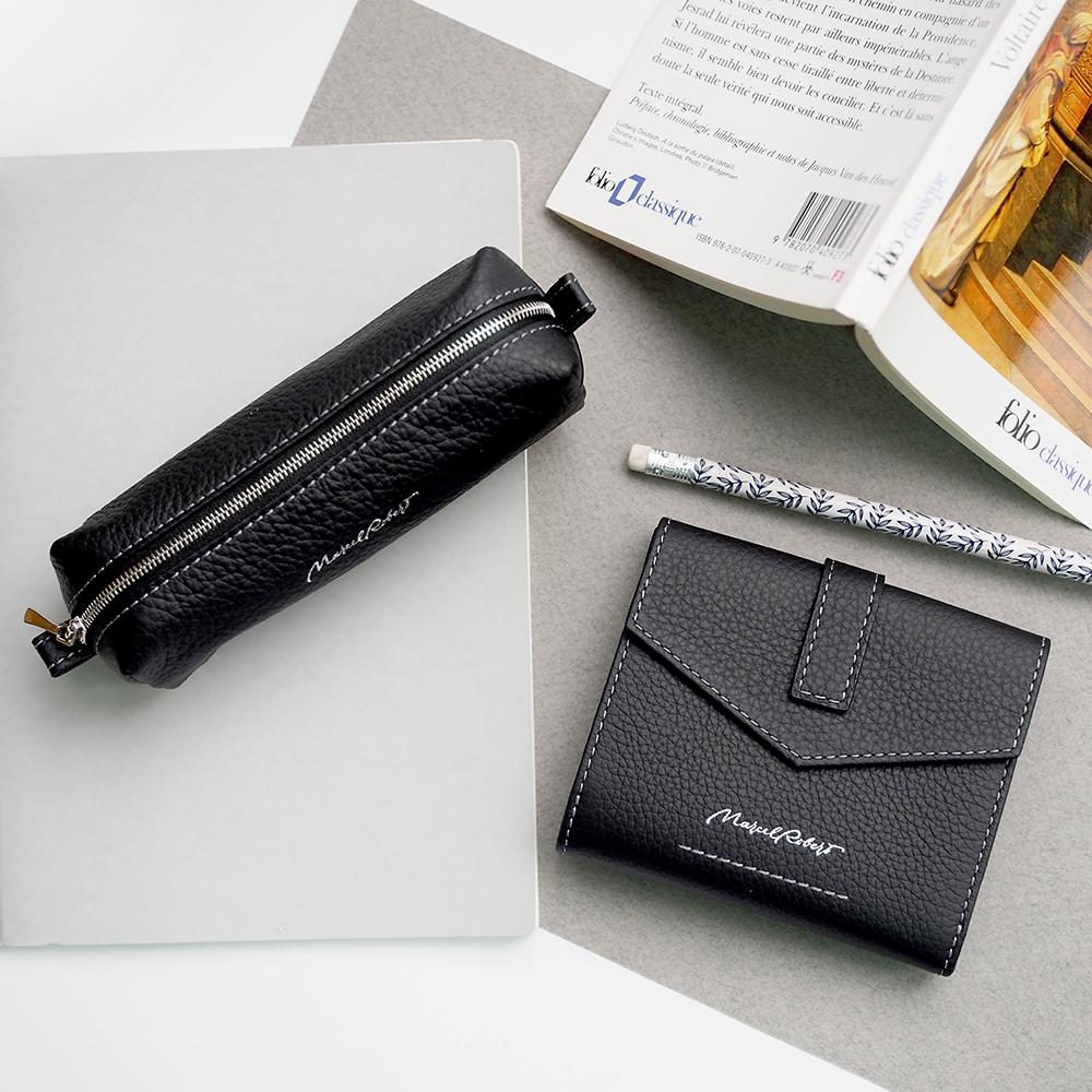 Мини-кошелек Tresor Easy из натуральной кожи теленка, цвета черный мат