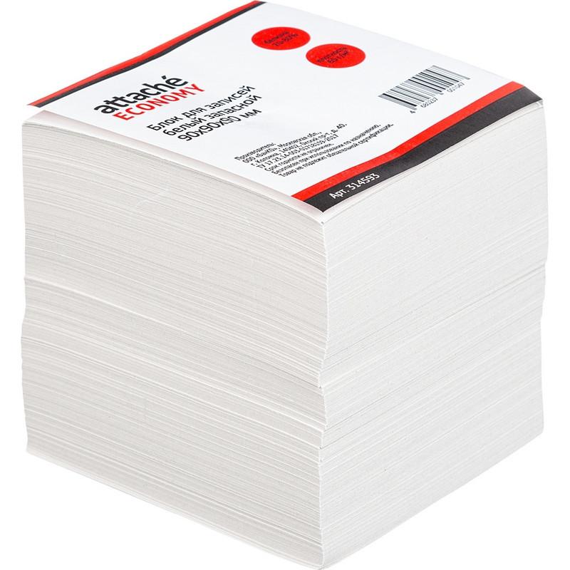 Блок для записей Attache Economy 90x90x90 мм белый (плотность 65 г/кв.м)