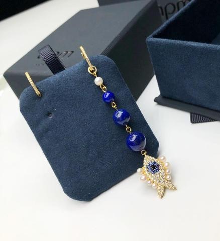 50410 -Ассиметричные серьги из серебра в лимонной позолоте с синей эмалью в стиле APM MONACO