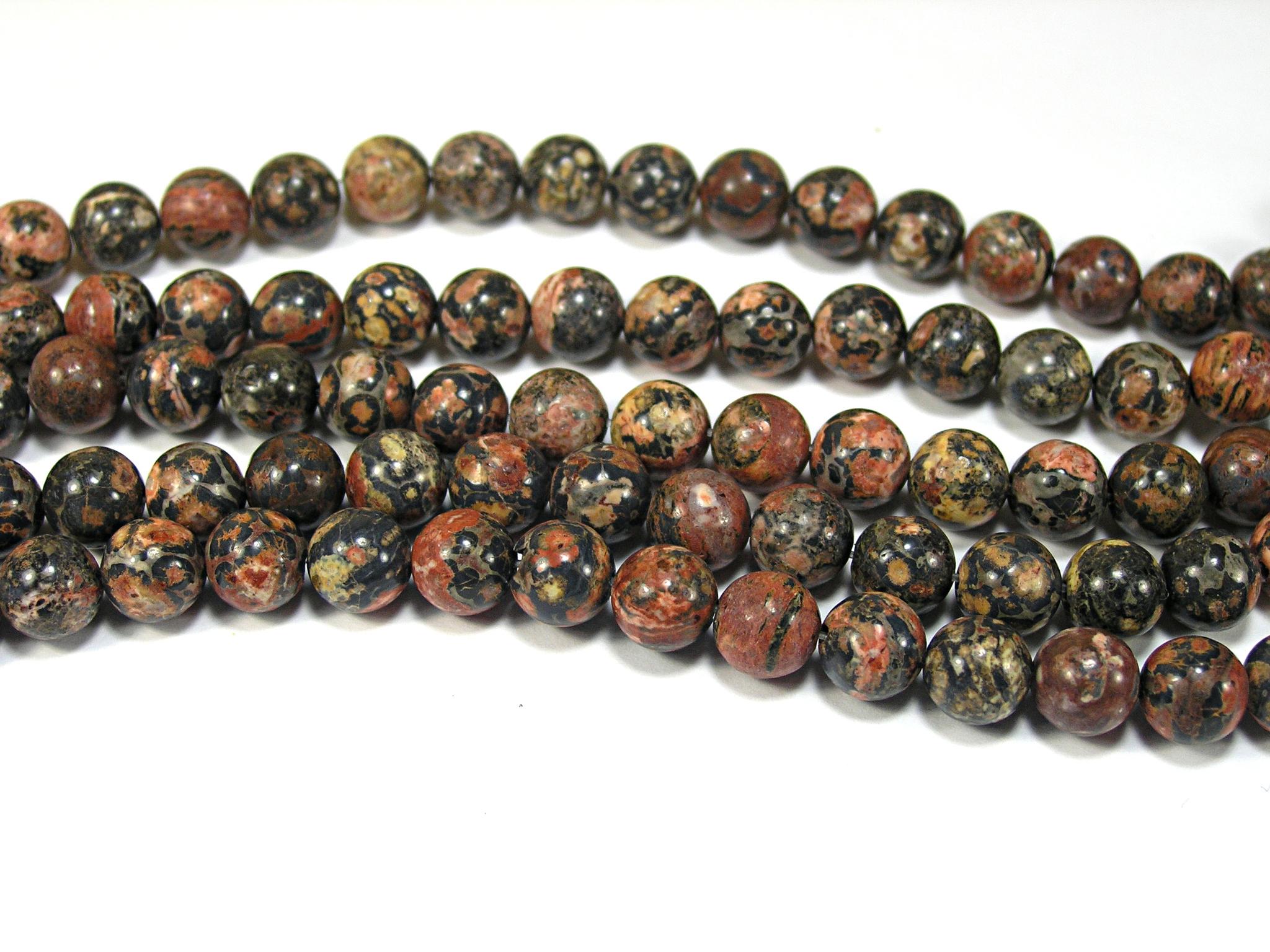 Нити бусин из яшмы леопардовой, шар гладкий 8мм (оптом)