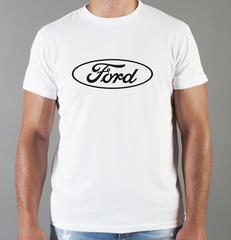 Футболка с принтом Ford (Форд) белая 009