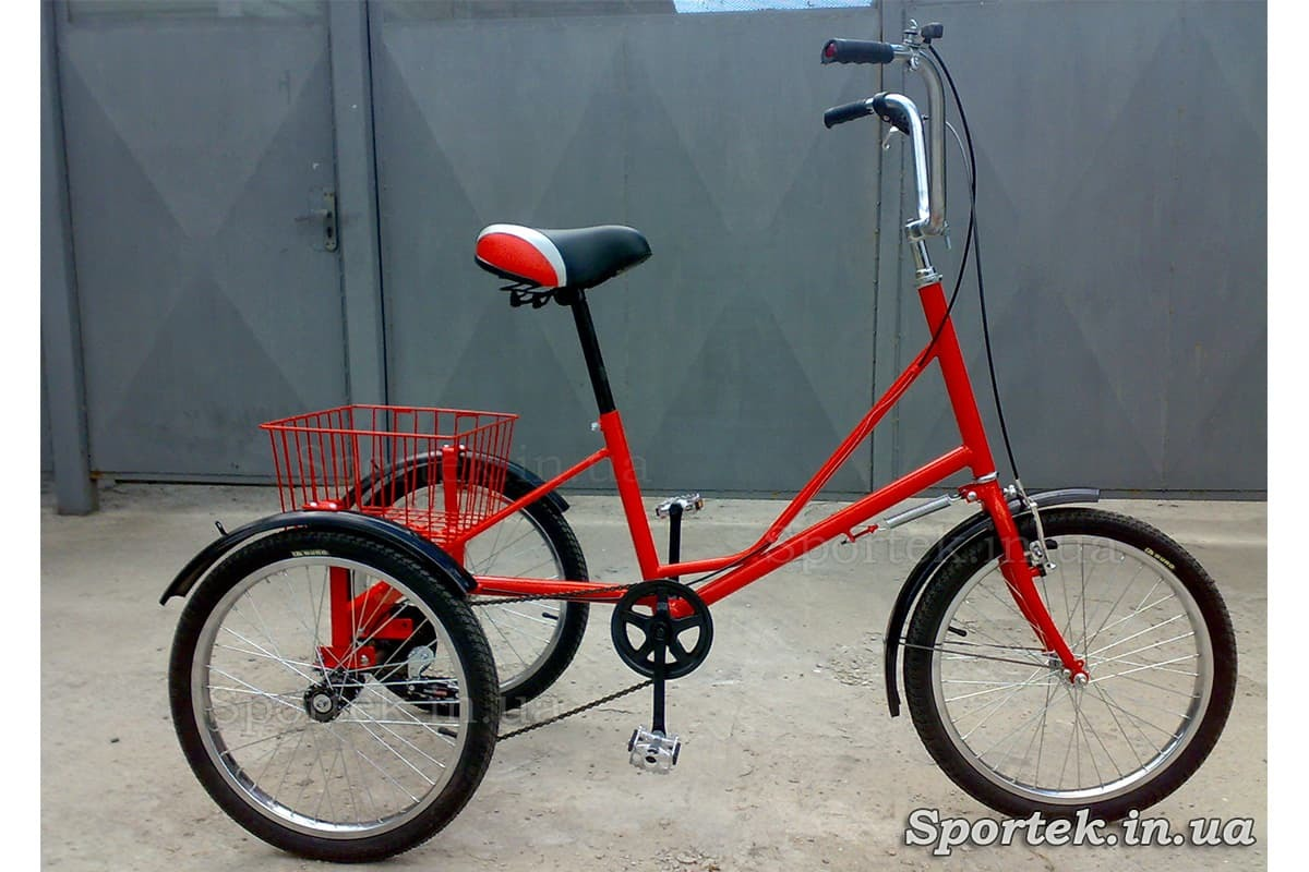 Триколісний велосипед 'Міський з кошиком 20' (червоний)