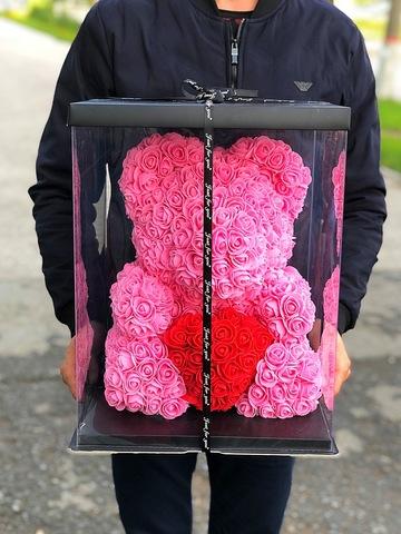 Мишка из роз 40 см в подарочной коробке #2598