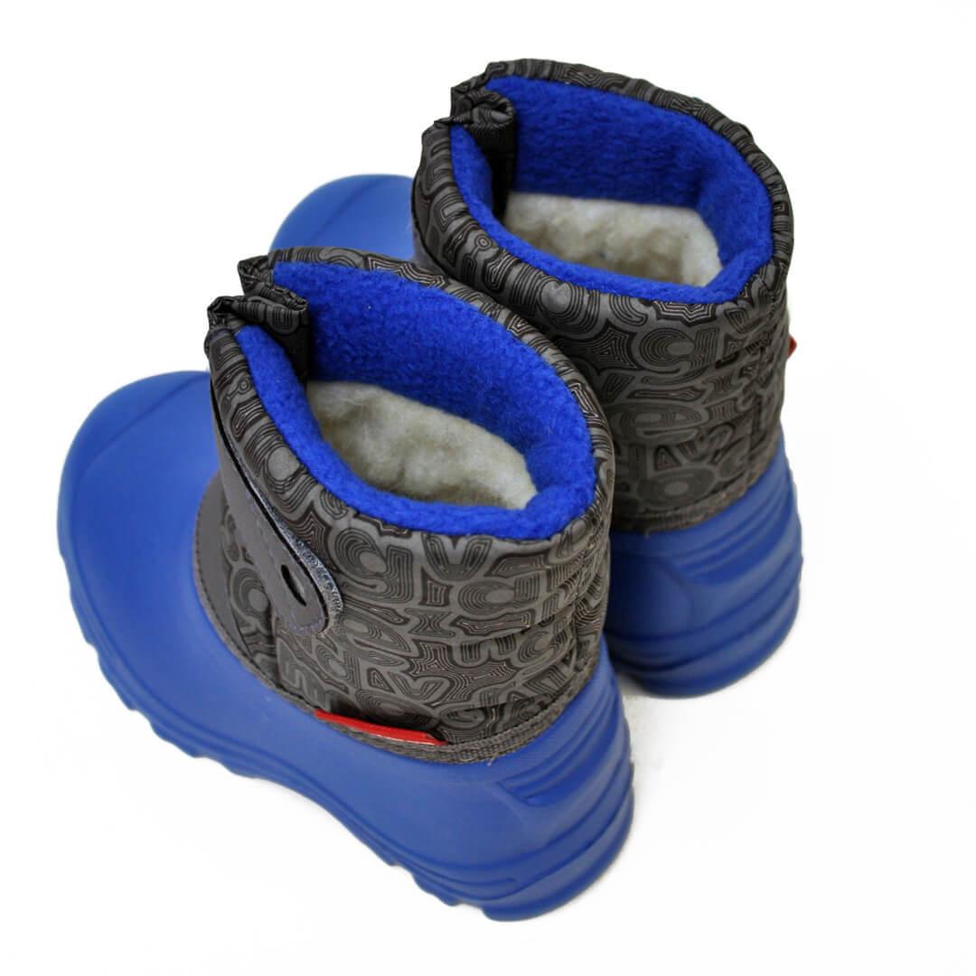 Детские сноубутсы Nordman Joy из ЭВА на липучке серые с синей подошвой