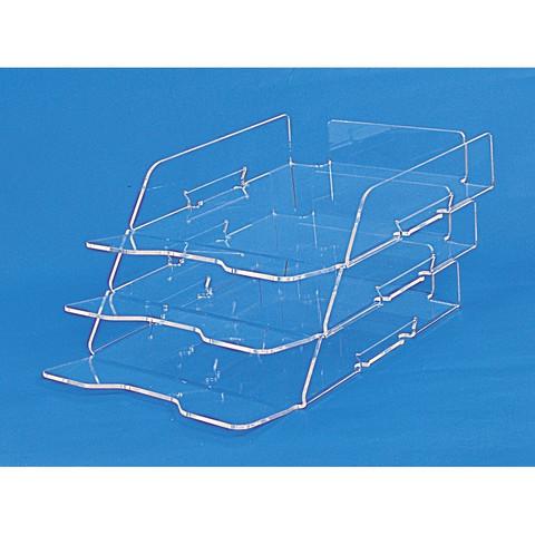 Лоток для бумаг горизонтальный Attache Selection 3 отделения прозрачный