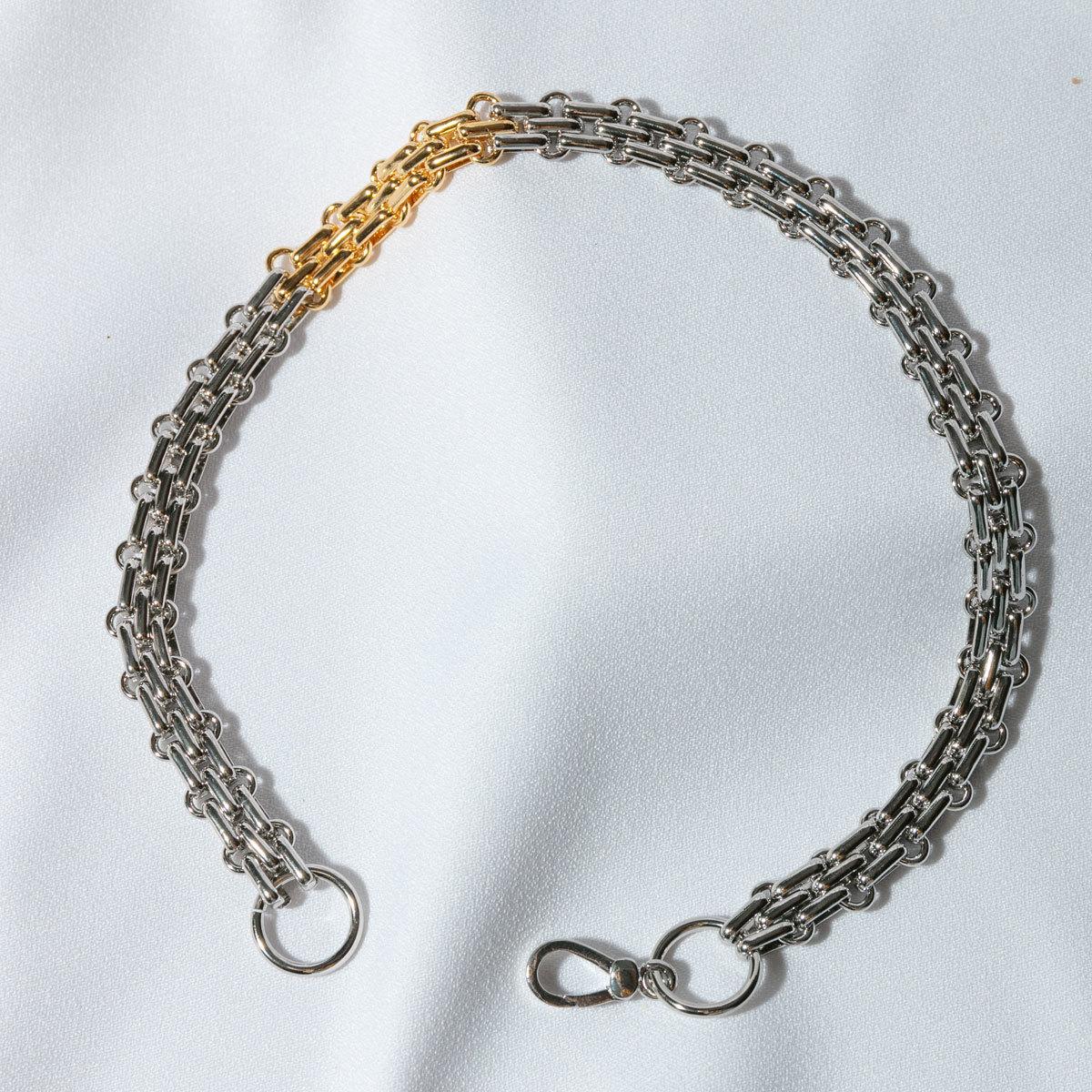 Цепь-чокер сложного плетения биколорная (серебристый)
