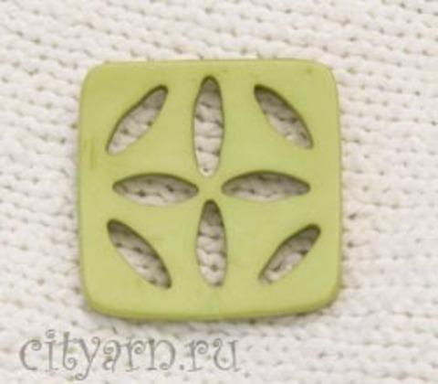 Пуговица квадратная, вогнутая, с разрезами, зелёная