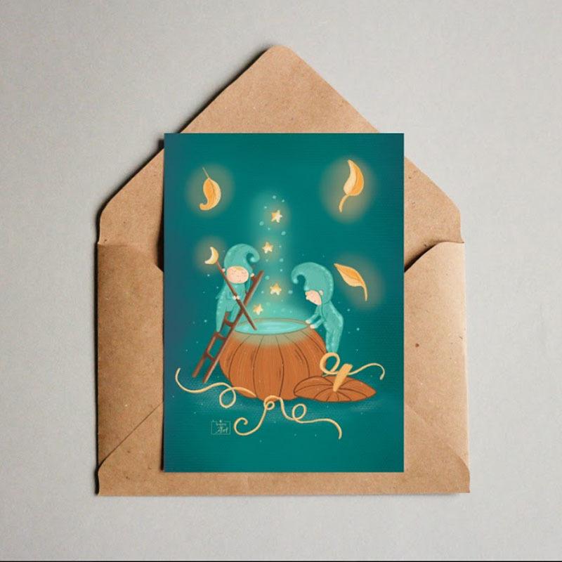 Фотография Открытка авторская почтовая «Осенние гномы» / 10*15 см купить в магазине Афлора