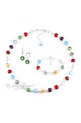 Комплект Carnavale Argento (зеленые серьги на серебре, ожерелье, браслет)