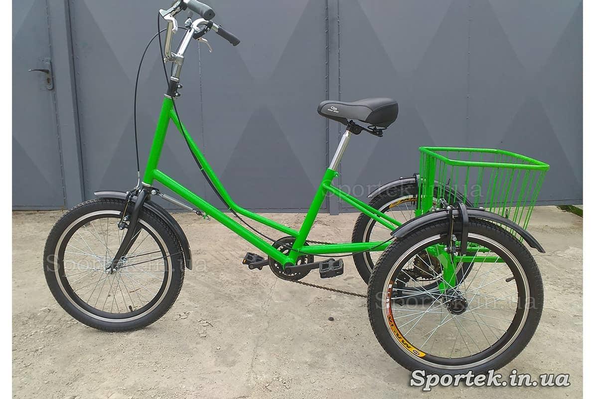 Триколісний велосипед 'Міський з кошиком 20' (зелений)