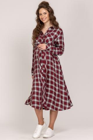 Платье для беременных 10942 бордо-клетка