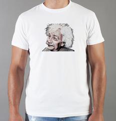 Футболка с принтом Альберт Эйнштейн (Albert Einstein) белая 005