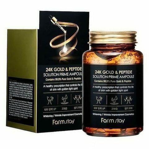 Антивозрастная ампульная сыворотка с золотом и пептидами FARMSTAY 24K Gold & Peptide  Ampoule 25