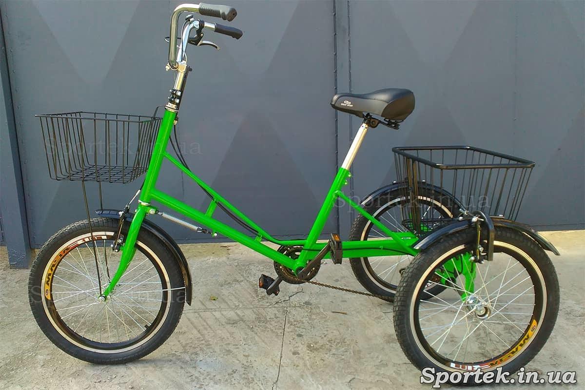 Триколісний велосипед 'Міський з кошиком 20' з передньої кошиком (зелений)