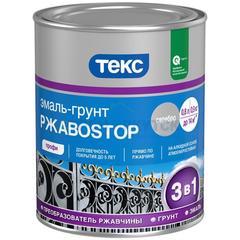 Эмаль-грунт Текс алкидная РжавоSTOP по ржавчине молотковая серебристая , 0,9кг