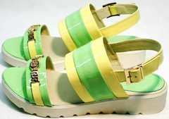 Кожаные кожаные сандали босоножки женские Crisma 784 Yellow Green.