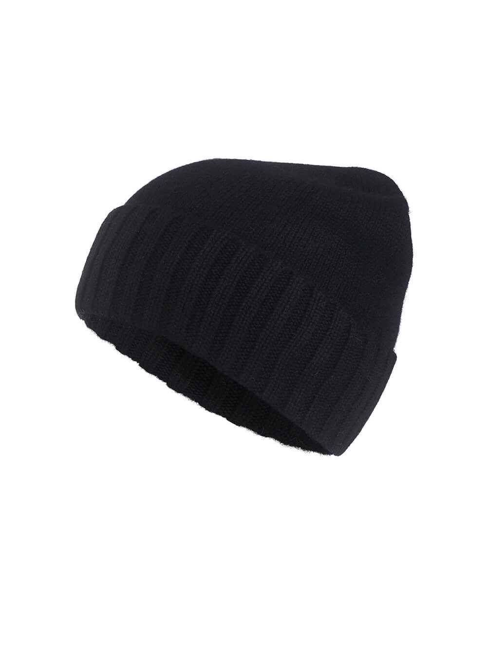 Женская шапка черного цвета из 100% кашемира - фото 1