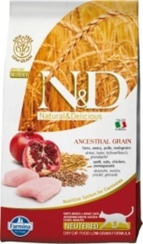 Farmina N&D Neutered Ancestral Grain - Сухой корм для стерилизованных кошек и кастрированных котов курица, спельта, овёс и гранат - 10 кг