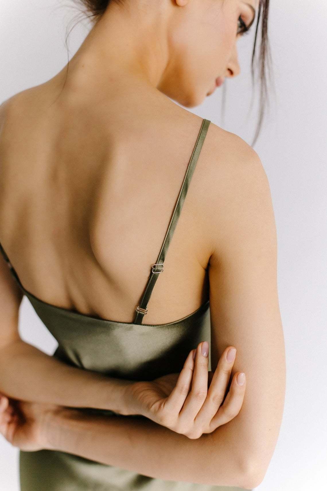 Шелковое платье комбинация из натурального шелка цвета хаки