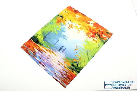 Салфетка для протирания очков из микрофибры в индивидуальной упаковке с рисунком С9