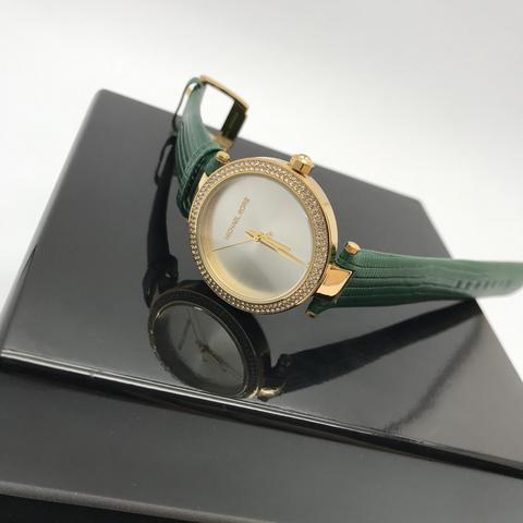 MK3660 - Женские, наручные часы MK на кожаном, зеленом ремешке