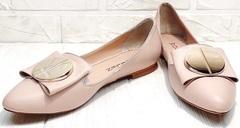 Женские кожаные балетки туфли без каблука с острым носом Wollen G192-878-322 Light Pink.