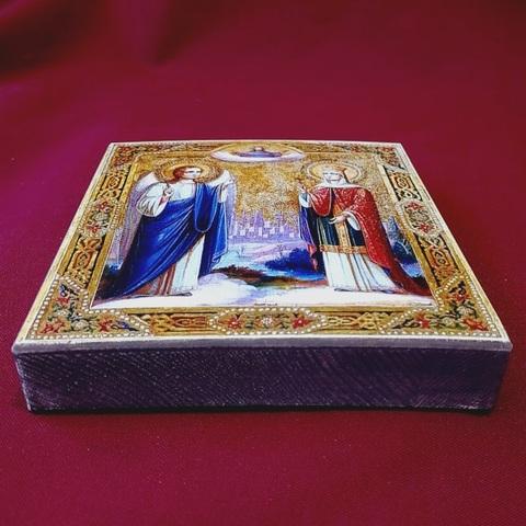 Икона святые княгиня Ольга и Ангел Хранитель на дереве на левкасе мастерская Иконный Дом