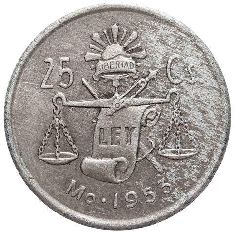 25 сентаво 1953 Мексика VF Серебро