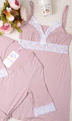 Евромама. Комплект халат и сорочка с кружевом из вискозы, сухая роза 5