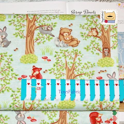 Ткань для пэчворка 20949 (лесные звери на голубом) 45х55см