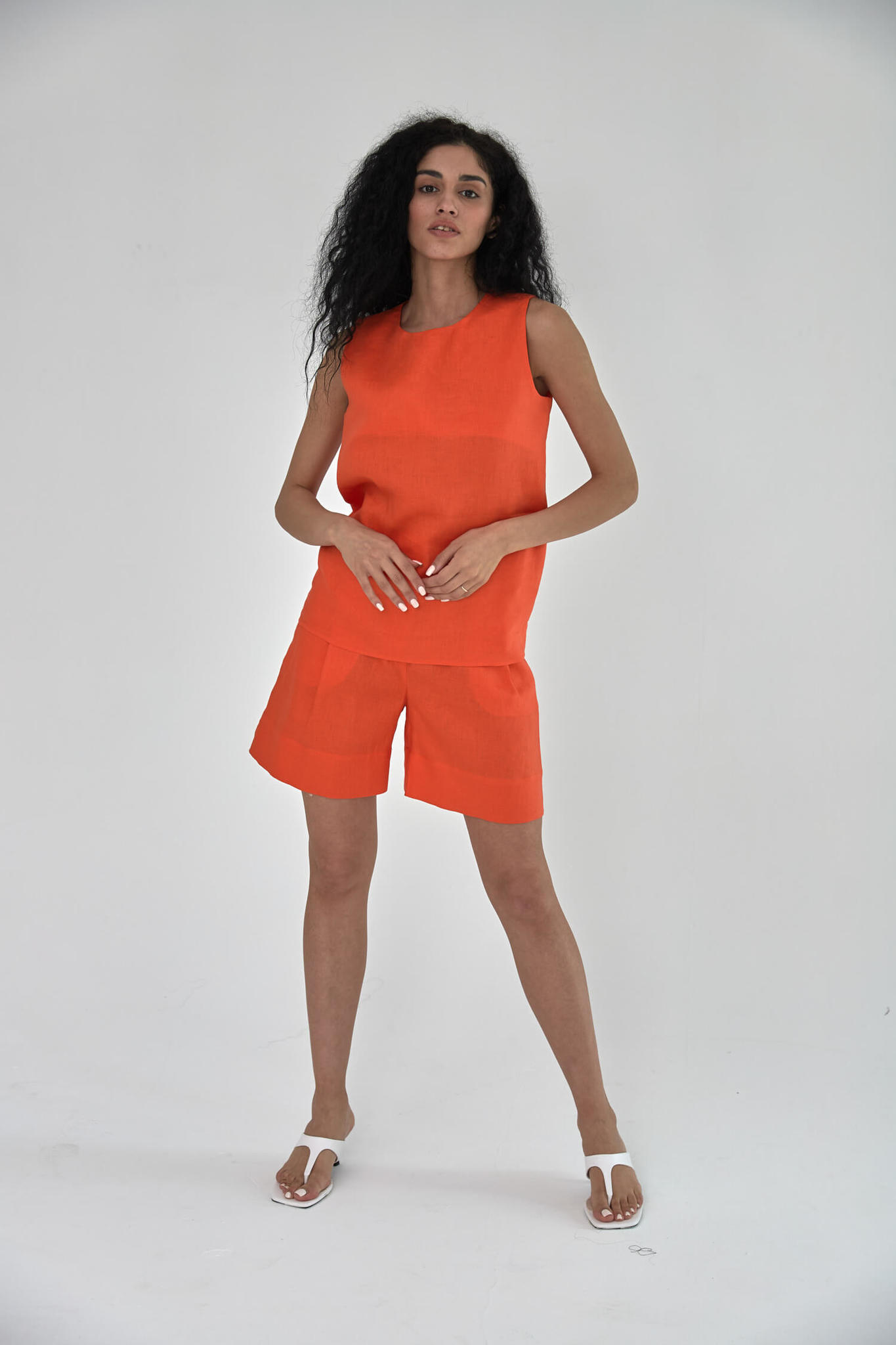 Шорты-бермуды, лен красный апельсин