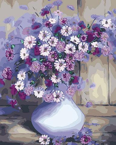 Алмазная Мозаика 40x50 Букет белых и фиолетовых цветов в белой высокой вазе