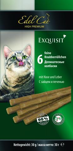 Лакомство Edel Cat деликатесные колбаски с зайцем и печенью для взрослых кошек