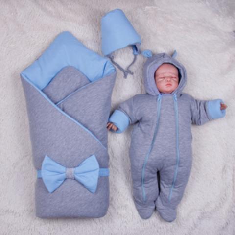Зимний набор на выписку новорожденных из роддома Mini (голубой)