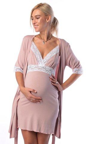Евромама. Комплект халат и сорочка с кружевом из вискозы, сухая роза 2