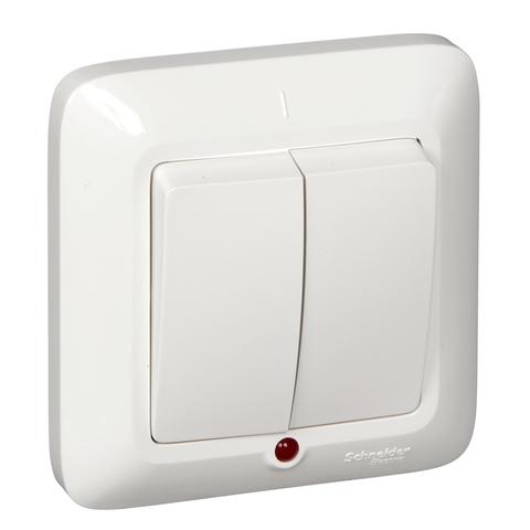 Выключатель двухклавишный с подсветкой 6 А 250 В в розничной упак. Цвет Белый. Schneider Electric(Шнайдер электрик). Prima(Прима). S56-039-BI