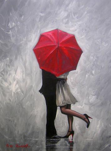 Картина раскраска по номерам 30x40 Поцелуй за красным зонтом