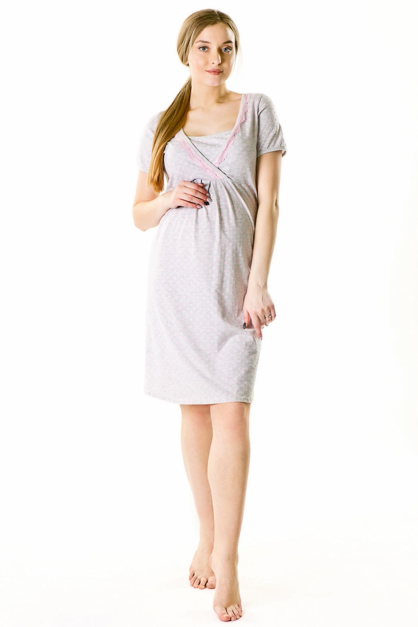 Ночная сорочка для беременных и кормящих 09617 серый