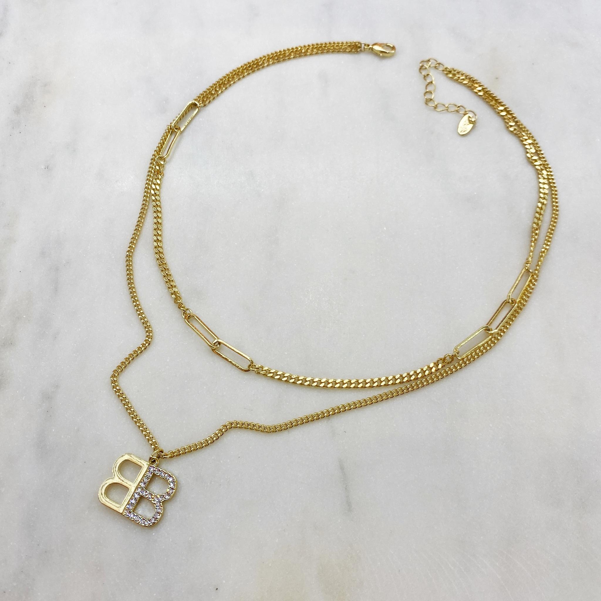 Колье-цепь двурядное с двойной буквой B 40-50 см (золотистый)