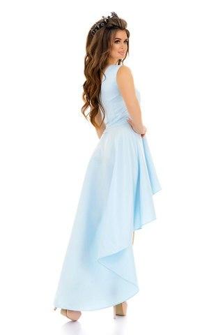 Асимметричное атласное платье на одно плечо, голубого цвета 1