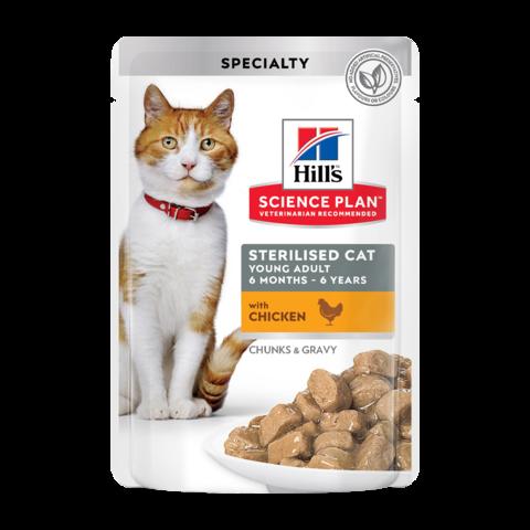 Hill's Science Plan Sterilised Cat Консервы для молодых стерилизованных кошек и кастрированных котов с курицей в соусе (пауч)