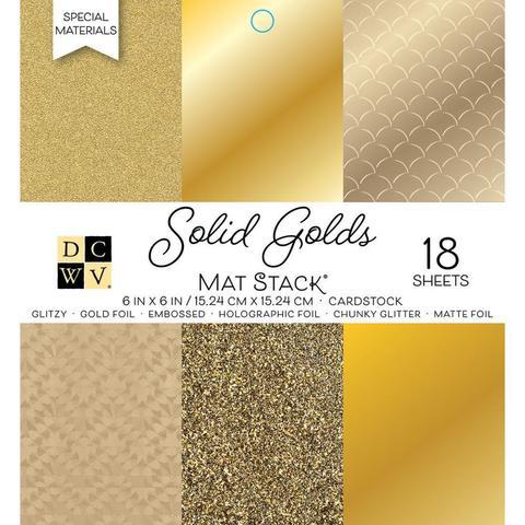 Набор односторонней  бумаги 15х15 см -DCWV Single-Sided Cardstock Stack -Solid Golds  -18 л