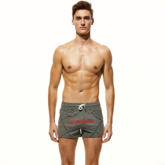 Мужские пляжные шорты темно-серые с надписью SEOBEAN