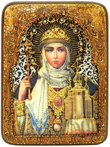 Инкрустированная икона Святая Равноапостольная княгиня Ольга 20х15см на натуральном дереве в подарочной коробке