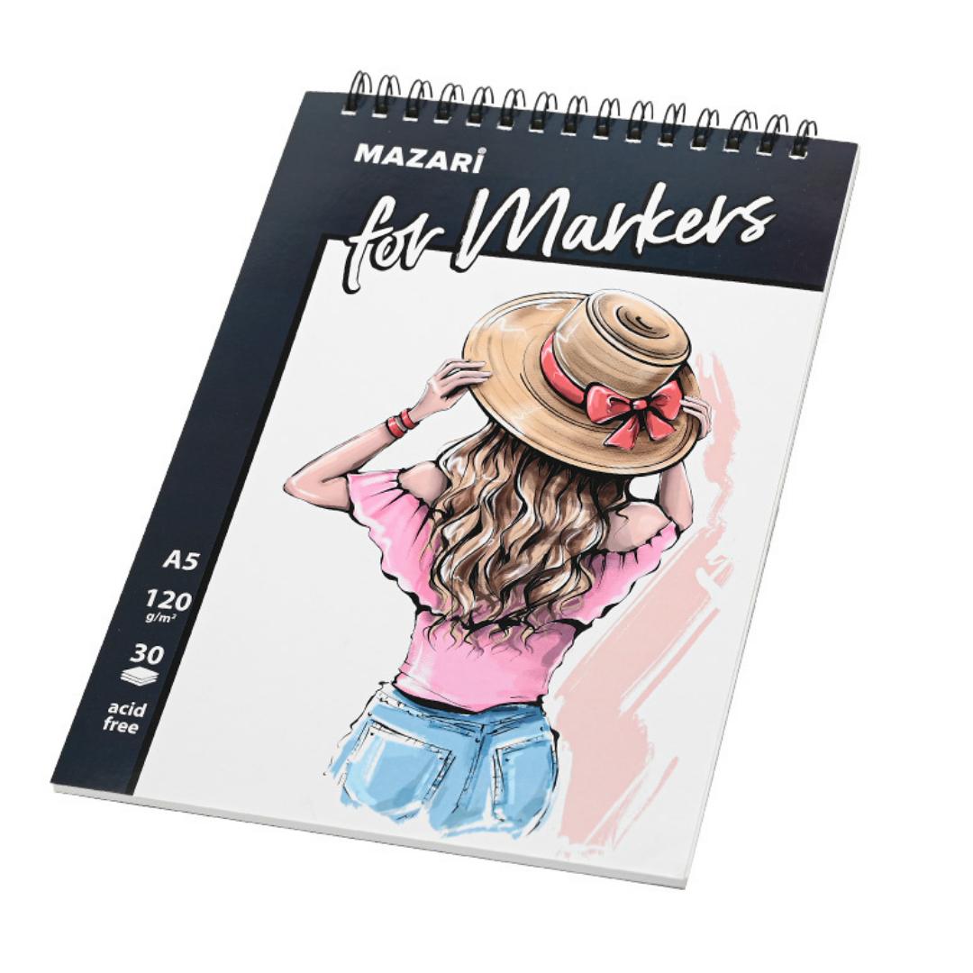Скетчбук для рисования спиртовыми маркерами Mazari