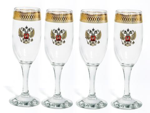 Подарочный набор из 4 фужеров для шампанского «Империя», 190 мл