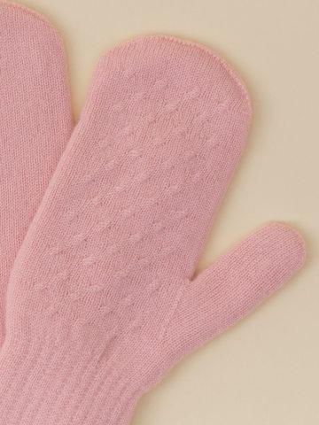 Женские варежки светло-розового цвета из 100% кашемира - фото 4