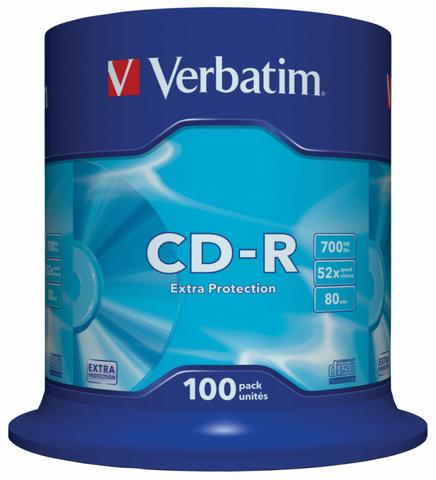 Диск CD-R Verbatim 700Mb 52x Cake Box (100шт) (43411)